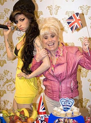 Barbara Windsor and the Tussauds model of Amy Winehouse
