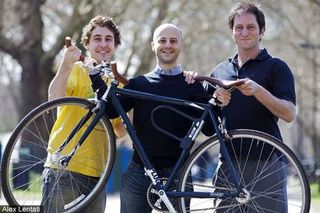 Marc Cutler (centre) and friends with his recovered bike