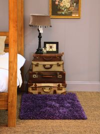 Suitcases used as bedside table